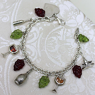 Sterling Wine Tasting Theme Bracelet With Sterling and Glass Grape Charms