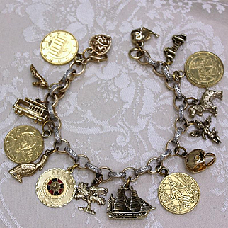 Sterling Charm Bracelet With 18 Beautiful Solid Silver Charms