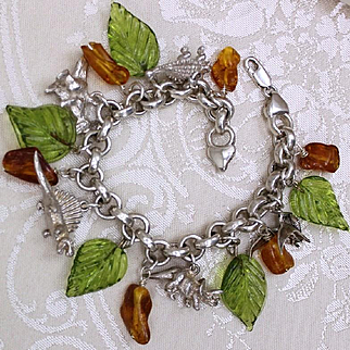 Sterling Dinosaur and Amber Charm Bracelet Glass Leaves 5 Highly Detailed Dinosaurs Solid Silver Charms