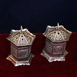 Japanese Hanging Lanterns Sterling Salt and Pepper Shakers Figural Vintage Solid Silver Circa 1950