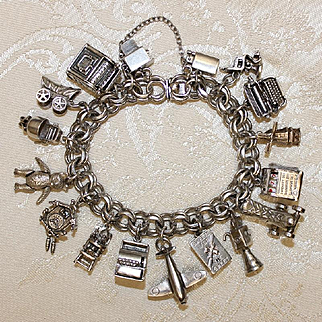 Completely Mechanical Charm Bracelet With 18 Charms With Moving Parts Vintage Solid Silver Gorgeous!