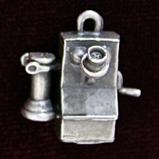 1950's Sterling Phone Charm With 1900's Edwardian Wall Phone