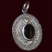 Sterling Charm or Pendant With Inlaid Onyx