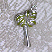 Sterling Palm Tree With Green Palm Fronds Perfect for Ocean or Tropical Vacation Theme Bracelet