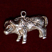 Sterling Ox Charm Vintage Solid Silver