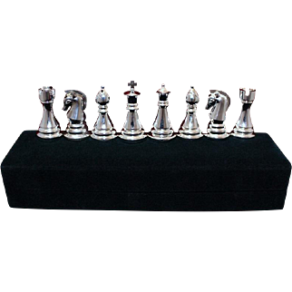 Silverplated Chess Set by Towle Silversmiths 8 Chess Pieces King Queen Rooks Bishops and Knights