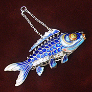 """Large Silver Fish, Chinese Articulated 3"""" Long Cloisonne Carp, Solid Silver Blue Enamel"""