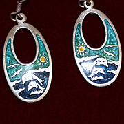 Sterling Dolphin Earrings Solid Silver and Pristine Enamel from Mexico