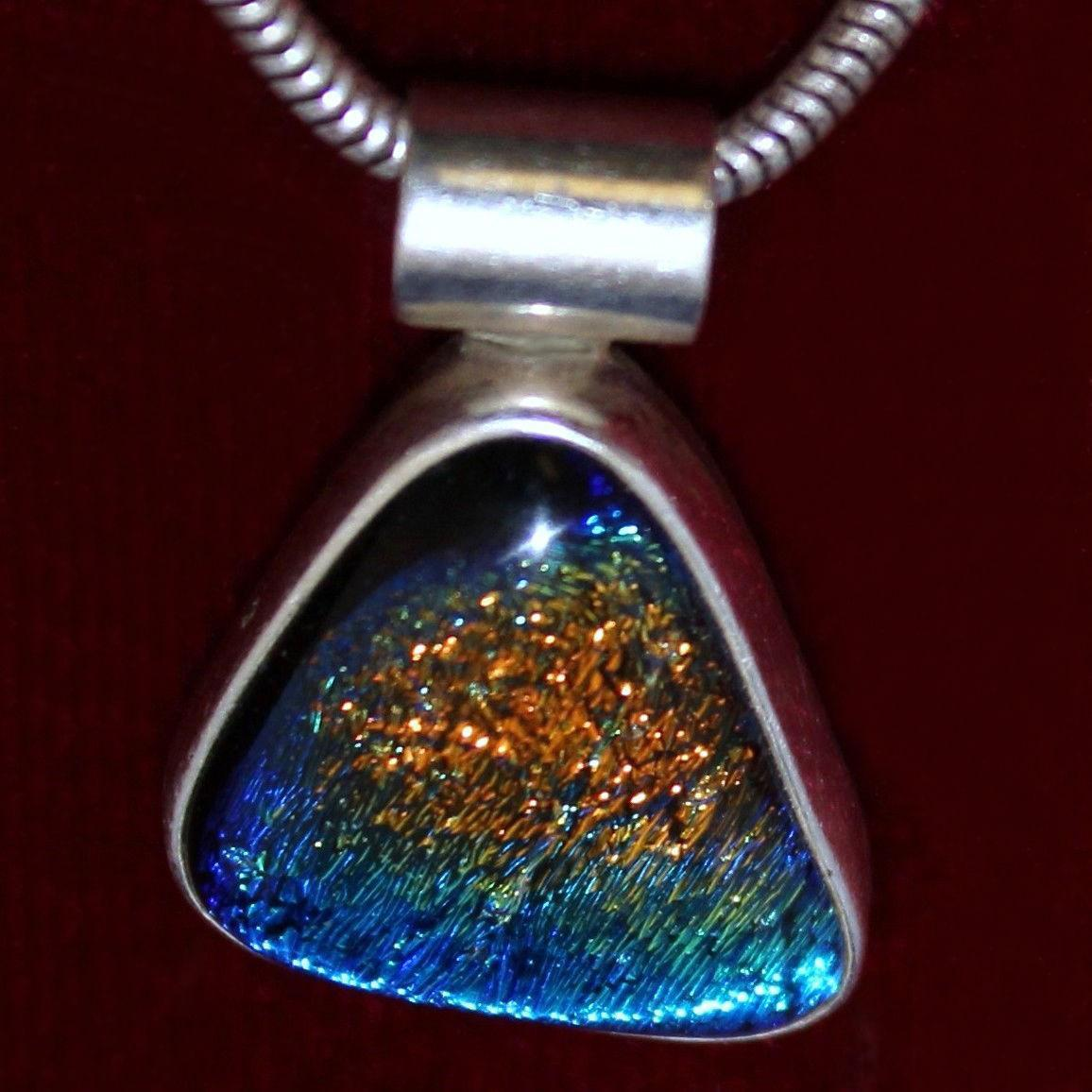 Sterling Pendant With Beautiful Glass Cabochon