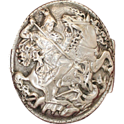 Rare St. George 800 Silver Box With Beautifully Cast Image and Decorative Borders Fabulous Elegant Old World Treasure