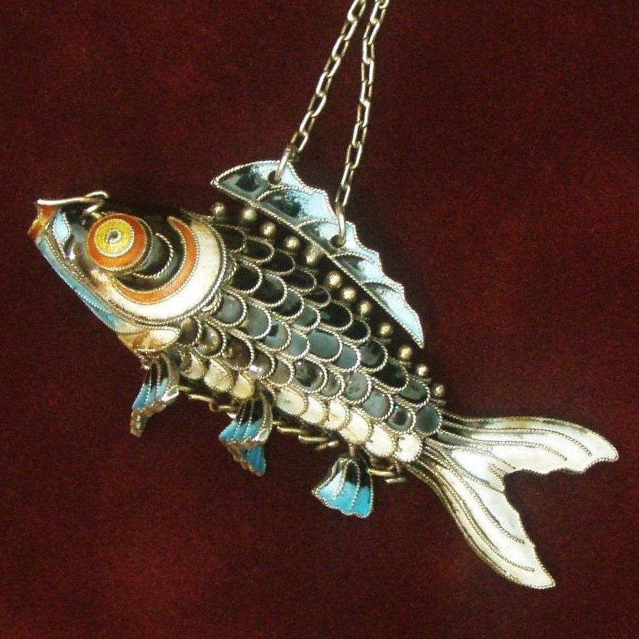 "Large Silver Fish, Chinese Articulated 3"" Long Cloisonne Carp, Rare Black Enamel and Solid Silver"
