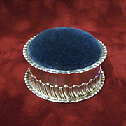 Big Victorian 1896 British Sterling Pin Cushion Antique Solid Silver By Stokes and Ireland With Blue Velvet Pincushion