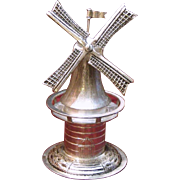 Dutch Solid Silver Spinning Windmill 833 Silver Vintage Charmer With Moving Blades Wheel and Flag