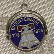 Sterling Bicentennial Charm With Enamel 1976 Vintage Solid Silver