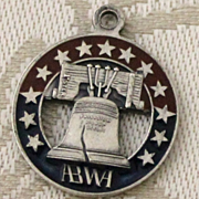 Sterling Vintage ABWA Charm With Red Blue Enamel and Liberty Bell American Business Womens Association