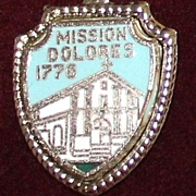 Junipero Serra Founded Mission Dolores 1776 Sterling Charm Vintage Solid Silver and Enamel