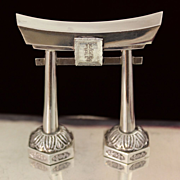 Sterling Japanese Shinto Gate Salt Shaker Vintage Japanese Solid Silver Pepper Pot
