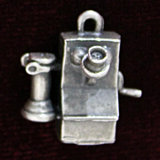 Sterling 1900 Wooden Wall Phone Charm Vintage Solid Silver 1950's