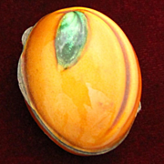 Exceptional Italian 800 Silver Apricot Box With Decorative Enamel 1960's Snuff or Pill Box