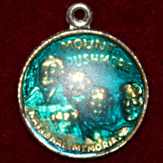 Sterling Mount Rushmore Charm With Acrylic Blue Sky Bubble Vintage Solid Silver
