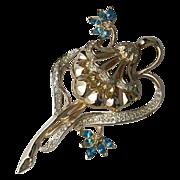 Coro Floral Rhinestone Pin Brooch 1940's