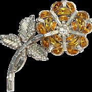 Trifari Citrine Demi Lune Floral Pin Brooch 1950s