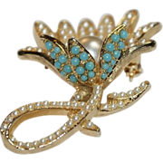 Art Faux Turquoise and Faux Pearl Floral Pin Brooch