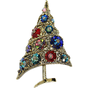 Weiss Colorful Margarita Stone Christmas Tree Pin Brooch Ad Pc