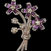Pennino Purple Rhinestone Floral Pin Brooch