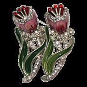 Coro Enamel Rhinestone Floral Duette Pin 1940's