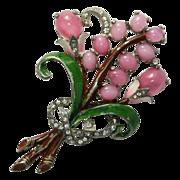 Floral Enamel Pink Cabochon Rhinestone Pin Brooch