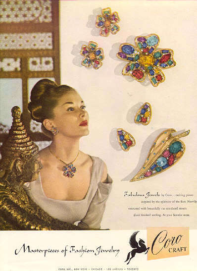 Coro Sterling Rhinestone Leaf Pin Brooch Earrings Set 1940