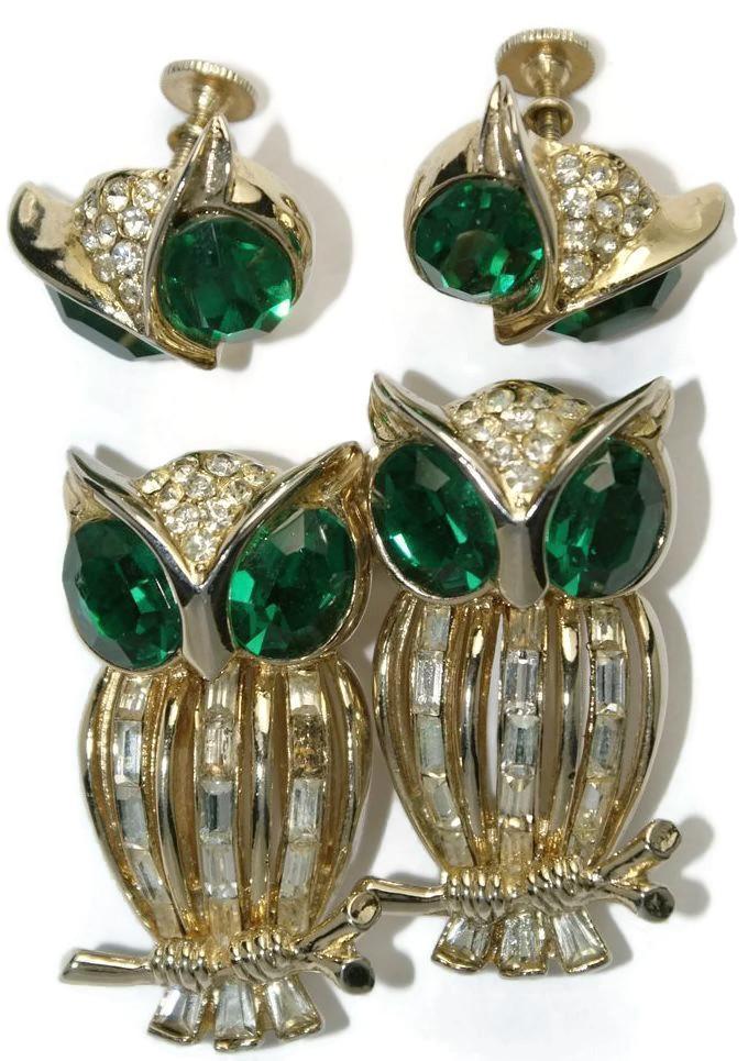 Coro Craft Baguette Rhinestone Owl Duette Earrings Set