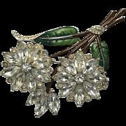 Coro Enamel Floral Rhinestone Pin Brooch