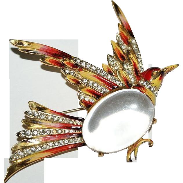 Coro Craft Sterling Enamel Rhinestone Jelly Belly Grouse Bird 1940's