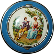 Pastoral Scene Courting Couple Powder Compact - Red Tag Sale Item