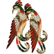 Coro Craft Sterling Rhinestone Enamel Birds Duette Pin 1940s Bk. Pc.
