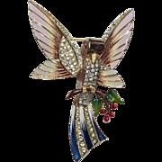 Coro Sterling Enamel Rhinestone Bird Pin Brooch 1940s