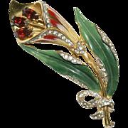 Coro Sterling Enamel Rhinestone Floral Pin