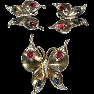 Trifari Sterling Butterfly Pin Brooch Earrings Set 1940's Bk Pc Ad Pc
