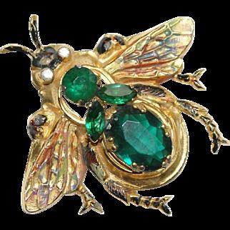 Large Coro Sterling Enamel Green Rhinestone Bee Insect Pin Brooch 1940's Bk Pc