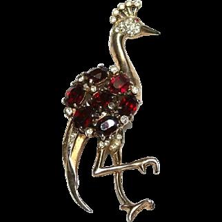 Coro Craft Sterling Rhinestone Peacock Bird Pin Brooch 1940s