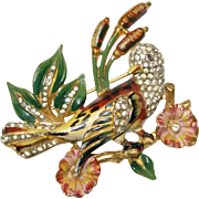 Coro Craft Sterling Enamel Rhinestone Bird Pin Brooch 1940s