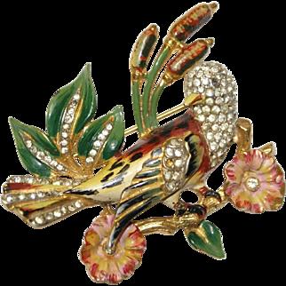 Coro Craft Sterling Enamel Rhinestone Bird Pin Brooch 1940s