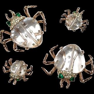 Coro Sterling Jelly Belly Twinkling Twins Clips Earrings Set 1940s Ad Pc