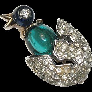 Trifari Cabochon Belly Rhinestone Bird Pin Brooch 1949 Ad Pc.