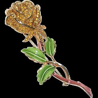 Kramer of New York Floral Rhinestone Enamel Brooch Pin