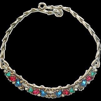 Trifari Colorful Fruit Salad Rhinestone Necklace 1940's