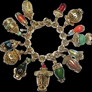 Rare Napier Lanterns Charm Bracelet 1950s Bk Pc