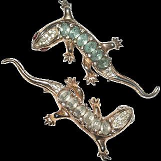 Pair Coro Craft Sterling Rhinestone Lizard Pins Brooches 1940s Ad Pc